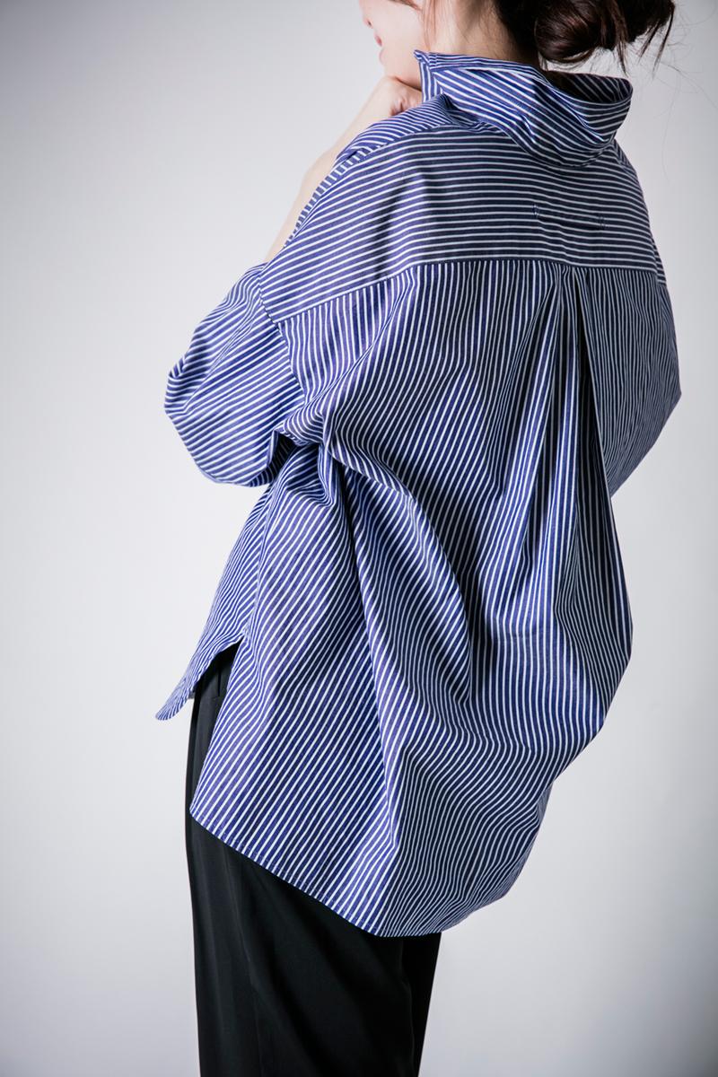 TICCA ストライプ半袖スクエアビッグシャツ