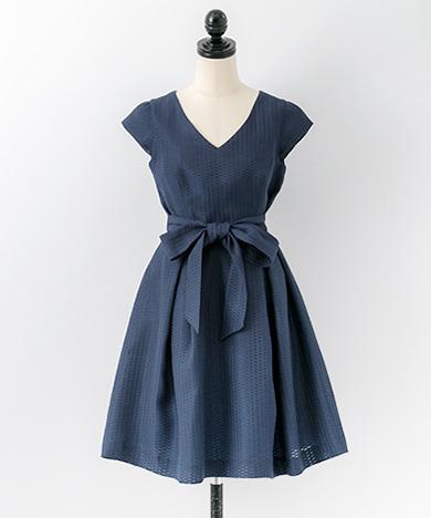 ドットジャガードドレス